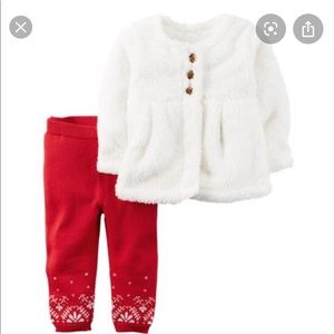 Carter's Red & White Fuzzy Cardigan Set